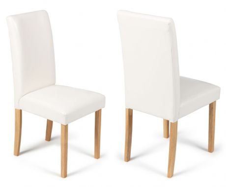 Torino Ivory White Faux Leather Dining Chairs  1/2 price Sale Now On Your Price Furniture